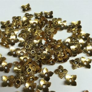Bead Caps 4 Leaf Gold 6mm