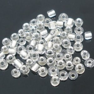 Seed Beads Clear Foil Lined Size 10
