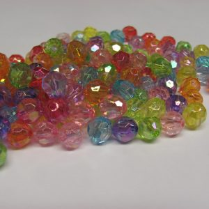 Acrylic faceted Ab beads 8mm