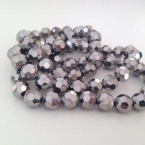 Silver Faceted Glass 10mm