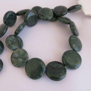 Jade Jasper Coin Beads 20mm