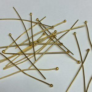 Head Pins Ball End Gold Plate 45mm