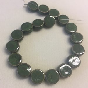20mm Coin Ceramic Bead Green