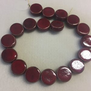 20mm Coin Ceramic Bead Red
