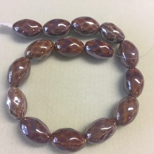 25mm Oval Ceramic Beads Brown