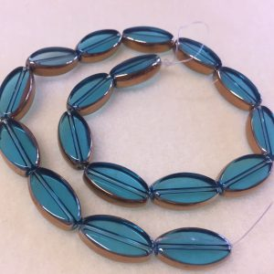 Oval Turquoise Glass Beads