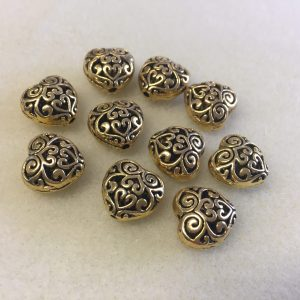 Carved Antique Gold Hearts Spacer Beads