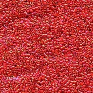 Opaque Red Ab Miyuki Delica Beads DB-162 7.2g