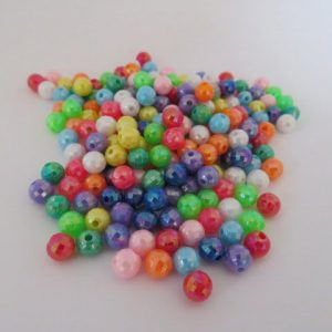 Acrylic Faceted Opaque Ab 6mm Beads