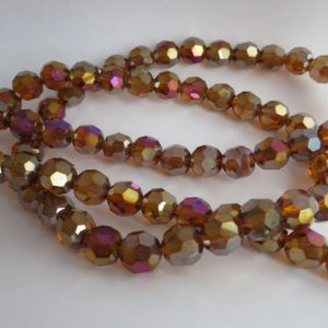 Faceted Round Ab 10mm Golden Brown beads