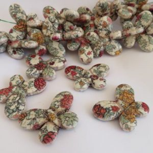 Butterflies Patterned Howlite Beads