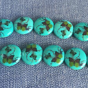 Butterfly Pattern Coin Beads 25mm