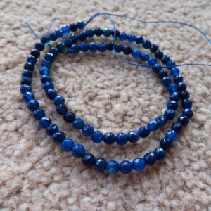 Agate Faceted 4mm Deep Blue