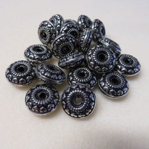 Acrylic Silver Heart Disc Spacer beads