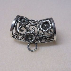 Filigree Flower Scarf Bails Silver 44mm