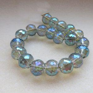 20 Aqua Drum Beads 12mm