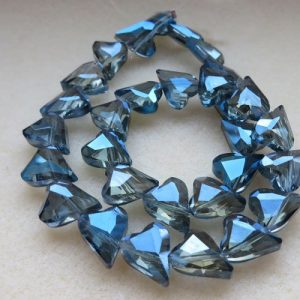30 Blue AB Heart Beads 12mm