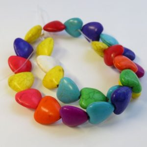 Howlite Hearts 16mm Beads