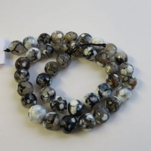 Agate Black & Grey 10mm Beads