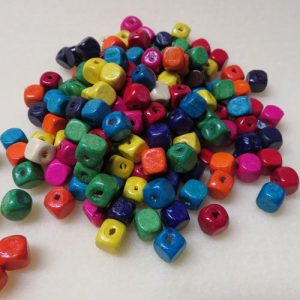 Wooden Cubes 8mm Multicoloured Beads