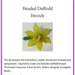 Beaded, Stitched Daffodil Brooch, Kit