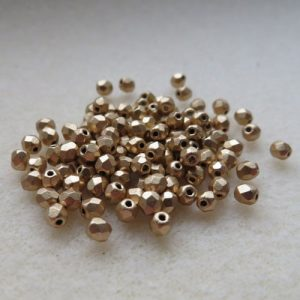 3mm Czech Matte Met Gold