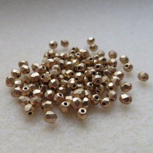 3mm Czech Matte Met Gold