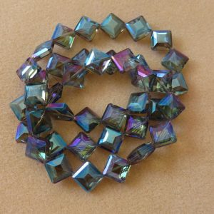 Blue Ab Flat Diamond Faceted