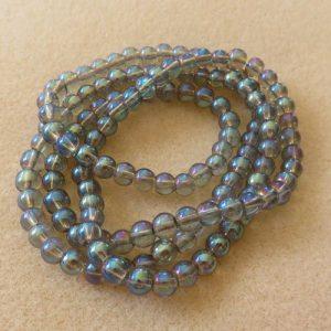 6mm Blue Ab Coated Beads