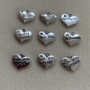 Wedding Bridal Heart Charms