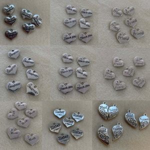 Friends and family heart charms